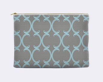 Gray pencil case, blue Moroccan lattice on gray, toiletry bag, cosmetic pouch, makeup bag, large cosmetic bag, zippered pouch, small clutch