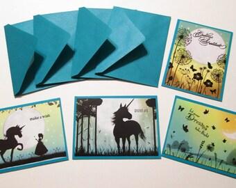 Handmade Note Cards - Set of 4 Teal TWILIGHT KINGDOM SUNSET notes and envelopes