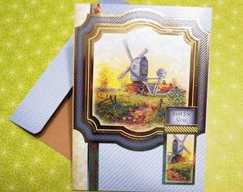 Handmade Fall Card - Thoughts of Autumn Bygone Times Windmill - CHOICE OF SENTIMENTS