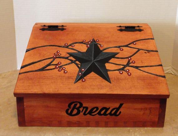 Bread Box, Wooden Bread Box, Primitive Decor, Primitive Kitchen, Primitive Star, Berry Vines, Country Decor, Farmhouse Decor, Kitchen Decor