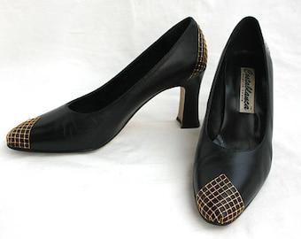 Size 7 Vintage Black Leather Heels with Gold Detail   Vintage Black Heels   Womens Shoes   Mesh Toe Detail   7 M CostaBlanca   Made in Spain