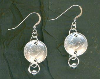 Handmade 1957 Dime Earrings 60th Birthday Gift for Women 60th Anniversary Gift Coin Jewelry 1957 Dimes