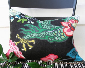 Schumacher Pillow Cover - 10 1/2 x 14 1/2 -  SPECIAL - Chiang Mai Dragon - Ebony -  Decorative pillow Cover
