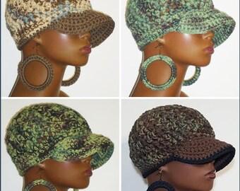 100% Cotton Chunky Crochet Baseball Cap with Hoop Earrings by Razonda Lee Razondalee