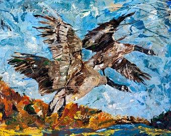 Geese wall art, Canadian Geese art, Birds flying, wildlife art, Pittsburgh artist, by Johno Prascak, Johnos Art Studio
