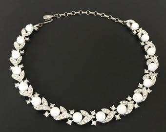 Lisner Rhinestone Choker, Vintage Jewelry, Mid-Century Lisner Jewelry, Rhinestone Jewelry, Milk Glass Spheres, Lisner Necklace, 60s Necklace