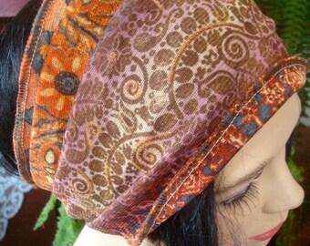 womens Headband  Wide Headband gold brown print  soft mesh  Comfortable Yoga turband