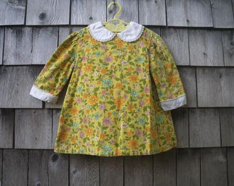 Baby Girl Flower Power Dress 1960s Yellow Floral Corduroy by Nannette