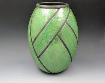 Green Raku Vessel with Black Architectural Linear Design, Decorative Art Piece, Dried or Silk Flowers only