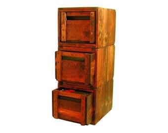 Wood File Cabinet, Wooden Filing Cabinet, Modular File Organizer, File Holder, Solid Wood File Storage & Organization