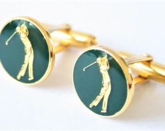 Vintage golf cufflinks. Green cufflinks. Golfing cufflinks.  Holland and Sherry cufflinks