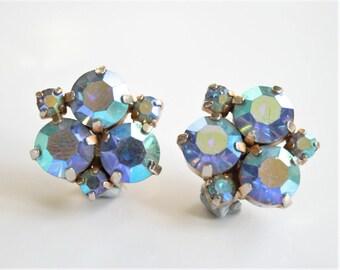 Clip on  earrings. Vintage blue crystal earrings. Rhinestone earrings