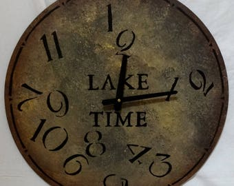 18 Inch LAKE TIME CLOCK in Mixed Shades of Gray with Cream Highlights and Jumbled Numbers