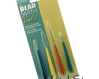 Bead Smith Diamond Bead Reamer Jewelry Tools 4 piece set use to enlarge or smooth edges in glass, pearl or stone bead holes