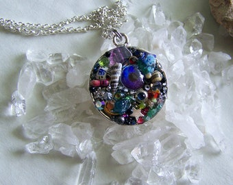 Gemstone Crystal Mosaic Colorful Kaleidoscope Pendant