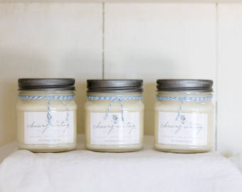 Hand Poured Soy Candles, Lead Free, Gardenia Candle, Mango Papaya Candle, Peaches and Peonies, 8 oz