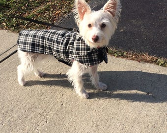 Black and White Corduroy Plaid Coat - Size XX Small- 8 to 10 Inch Back Length - Or Custom Size