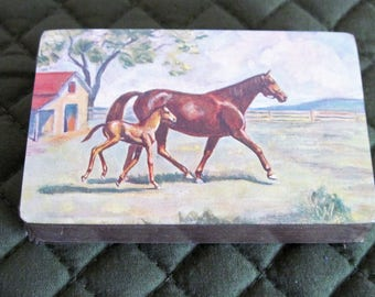 Vintage E.E. Fairchild Deck Of Playing Cards Still Sealed Displaying Horses