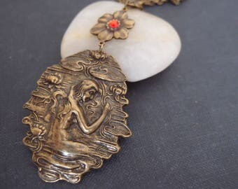 Art nouveau mermaid and water lily necklace, aged brass,vintage,mythology,fairy tale N045