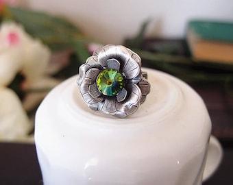 Swarovski rainbow crystal Victorian rose ring-Aged brass-adjustable--edgy chic- statement