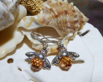 Sterling Silver 3D Bee Dangle Earrings w Briolette CZ 5.76 grams