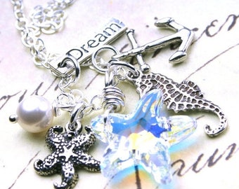 ON SALE The Newport Beach Necklace - Swarovski Crystal Starfish and Charm Necklace - Swarovski Crystal and Sterling Silver