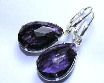 ON SALE Purple Vintage Jewel Earrings - Sterling Silver Leverbacks - Amethyst Crystal Teardrop Earrings