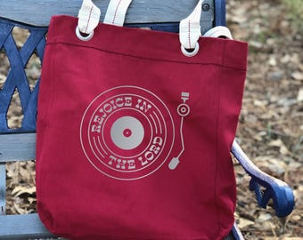 Rejoice in the Lord retro record player canvas school bag Red, shoulder canvas bag, tote everyday bag, farmers market bag, big bag tote