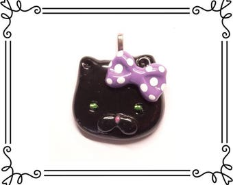Cold Porcelain Clay Black with Purple Bow Pendant, Black Kitty Clay Charm, Halloween Cat Charm, Black Cat Necklace /DIY Halloween Jewelry