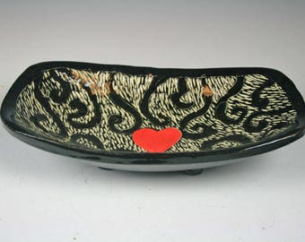 Funky bowl, Fun Bowl, Small Sgraffito Ceramic Serving Bowl, Handmade Bowl, Unique Bowl, Heart Accent