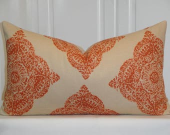 DURALEE Decorative Pillow Cover - Fits 14 x 24 - Diamond - Batik - Mani In Terracotta - Clay and Tan