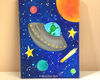 Flying Saucer, space themed art for children's rooms, 9x12 acrylic canvas, painting for kids