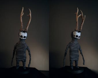 "Sculpture midget ""Audun "" - mixed media with real antlers."
