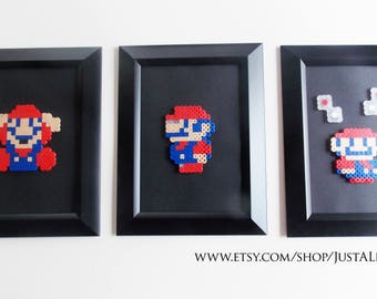 Mario Framed Artwork (Set of 3) Pixel Sprite Home Decor Art
