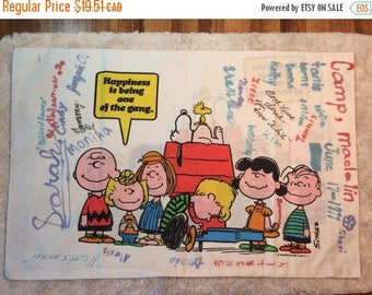 20% SALE Vintage 1970s Peanuts Charlie Brown Pillowcase from Summer Camp with Signatures