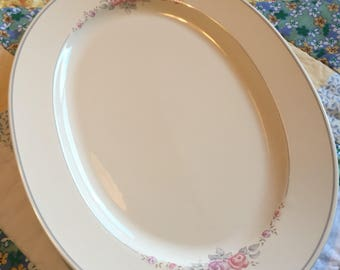 Vintage Large Serving Platter Trousseau Pink Purple Roses Pfaltzgraff Made in The USA