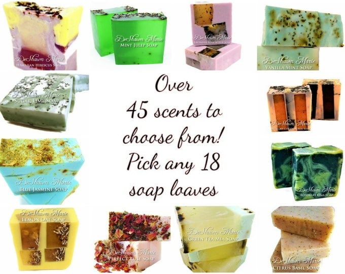 SOAP - 18 assorted 3LB Handmade Soap Loaves, Wholesale Soap Loaves, Vegan Soap, Soap Gifts, Wedding favors, Shower Favors, Christmas Gifts