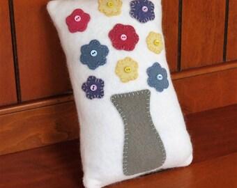 Primitive Pastel Flower Wool Pillow Folk Art Pillow