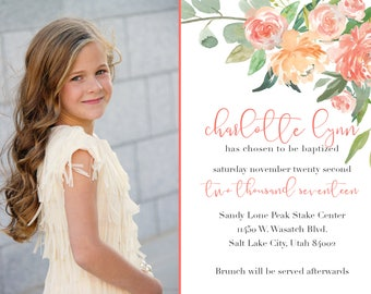 Peach Floral LDS Baptism Invitation - Digital 5x7 File