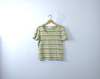 Vintage 90's striped tee, white and green cropped top, size medium