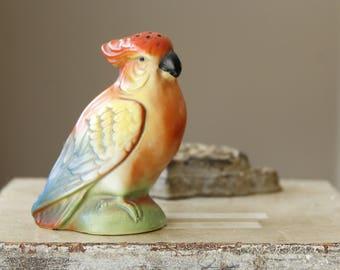 Antique German Parrot Figurine, Colorful Collectible Bird, Vintage German Parrot Figurine