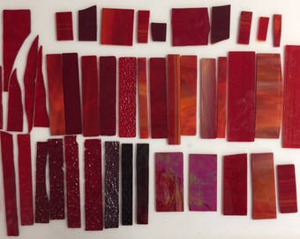 2 pounds red scrap glass for stained glass or mosaic