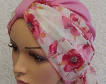 Women's turban hat, pink turban, full head covering, cancer bonnet, two piece set, turban with scarf, chemotherapy turban, chemo cap