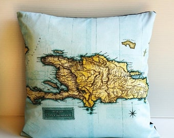 SALE SALE SALE Travel map Cushion cover / pillow Haiti map cushion / wedding gift/ honeymoon / 16 inch pillow / county maps