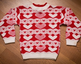 KIDS Circo Heart Pattern Sweater, Vintage 90s, Christmas, Valentine's Day, Holiday Knitwear, Long Sleeve Shirt, Chilld's Target Brand