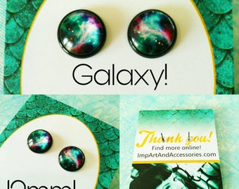 GALAXY-12 mm Swirling Stars Galaxy Brightly Colored Post Earrings