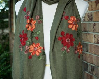 Embroidered Floral Scarf - Olive - Fall Winter 2017 Scarf - Embroidered Paisley Scarf - SALE - SHIPS IMMEDIATELY
