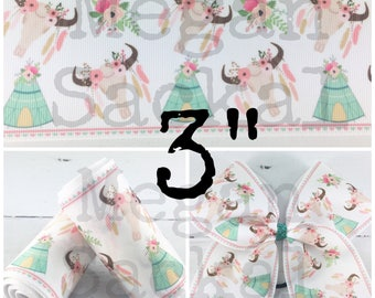 """3yd- 3"""" Ribbon, Cheer Bow Ribbon, Bullhead and Teepee Ribbon, Gypsy Print Ribbon"""