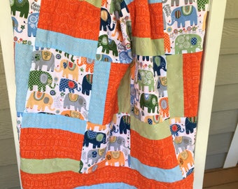 Elephants Galore Baby Boy Quilt