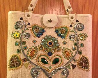 Vintage fabric and wood bejeweled satchel/purse